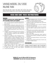Inline Ventilator DIL1200 Model Installation Guide