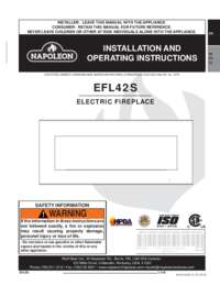Napoleon EFL42S Electric Fireplace Installation and Operating Manual