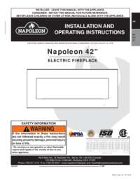 Napoleon Electric Fireplace Installation and Operating Manual