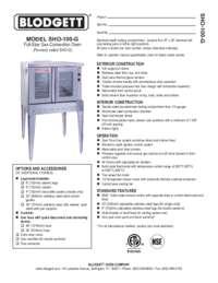 Blodgett Oven SHO 100 G  SpecSheet