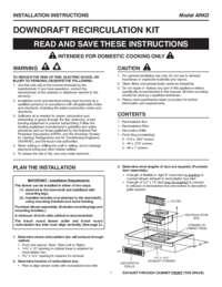 Downdraft Recirculation Kit Installation Instructions