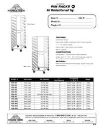 Aluminum Pan Racks Spec Sheet
