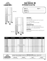 Aluminum Pan Racks Spec Sheet