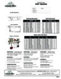 Pot Rack Spec Sheet