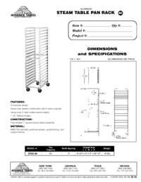 Steam Table Pan Rack Spec Sheet