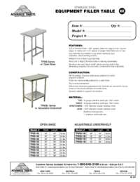 Equipment Filler Table with Open Base Spec Sheet