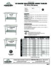 Lite Series Work Table Spec Sheet