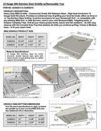 Griddle Spec Sheet'