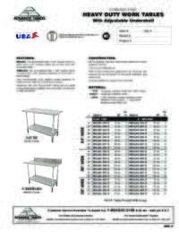 Work Table Spec Sheet