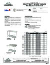 Work Table Spec Sheet