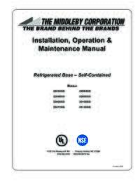 Refrigerated Base   Self Contained User Manual