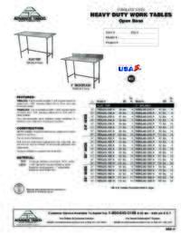 Work Table with Open Base Spec Sheet