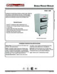 Double Radiant Broiler Spec Sheet