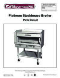Platinum Series Steakhouse Broiler Parts Manual