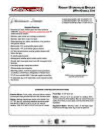 Platinum Series Steakhouse Broiler Spec Sheet