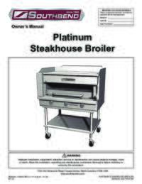 Platinum Series Steakhouse Broiler User Manual