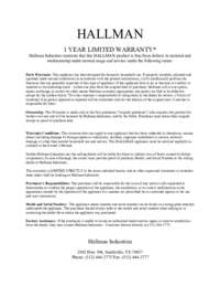 Hallman 1 Year Limited Warranty