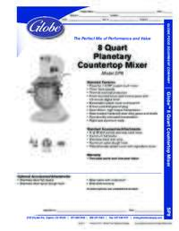 8 Quart Mixer Spec Sheet