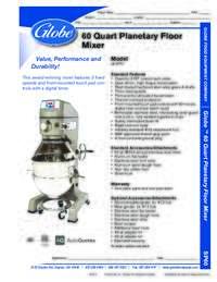 60 Qt Mixer Spec Sheet