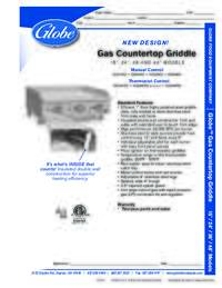 Gas Countertop Griddle Spec Sheet