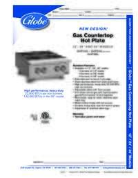 Gas Countertop Spec Sheet