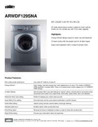 ARWDF129SNA Spec Sheet