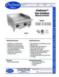 Gas Griddles Spec Sheet