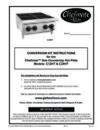 C12HT and C24HTChefmate Gas Hot Plate Conversion Kit Instructions