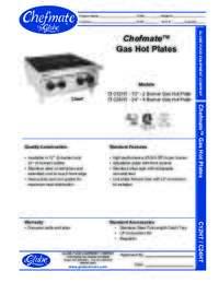 Gas Hot Plates Spec Sheet