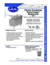 Electric Countertop Pasta Cooker Spec Sheet
