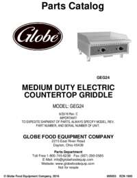 GEG24 Med Duty Griddle Parts Catalog