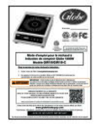 GIR18, 1800W Countertop Induction Range Owner's Manual (French)