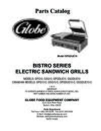 GPG10, GSG10, GPGDUE10 & GSGDUE10 Bistro Series Sandwich Grills Parts Catalog