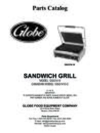 GSG1410 Mid size Sandwich Grill Parts Manual