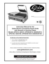 GPG14D, GSG14D, GPGDUE14D & GSGDUE14D 14 inch Sandwich Grills Owner's Manual