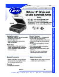Deluxe 14 in Single and Double Sandwich Grill Spec Sheet