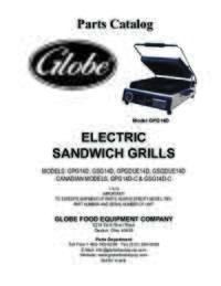 GPG14D, GSG14D, GPGDUE14D & GSGDUE14D 14 inch Sandwich Grills Parts Catalog