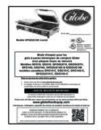 Instruction Manual for the Globe Electric Countertop Panini Grills with Smooth or Grooved Plates (French)