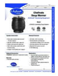 CPSKB1 SoupWarmer SpecSheet