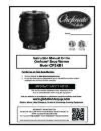 CPSKB1 Soup Warmer Owner's Manual
