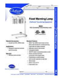 Food Warming Lamp Specsheet
