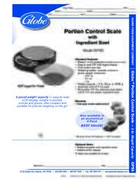 Portion Control Scale Spec Sheet
