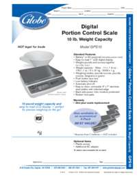 Portion Control Scale Spec Sheet
