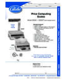Price Computing Scales Spec Sheet