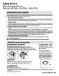Futuro Futuro Care Maintenance Manual Cleaning Lights Filters