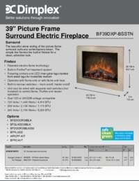 BF39DXP BSSTN 39 Inches Picture Frame Surround Electric Fireplace Sell Sheet