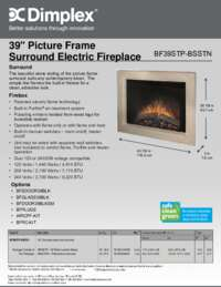 BF39STP BSSTN 39 Inches Picture Frame Surround Electric Fireplace Sell Sheet