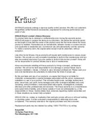 Kraus Warranty Guide