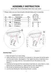 Solana Wood Back Side Chair Assembly Instruction