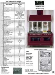 ILVE MAJESTIC TECHNO 60 Inch Specifications Sheet